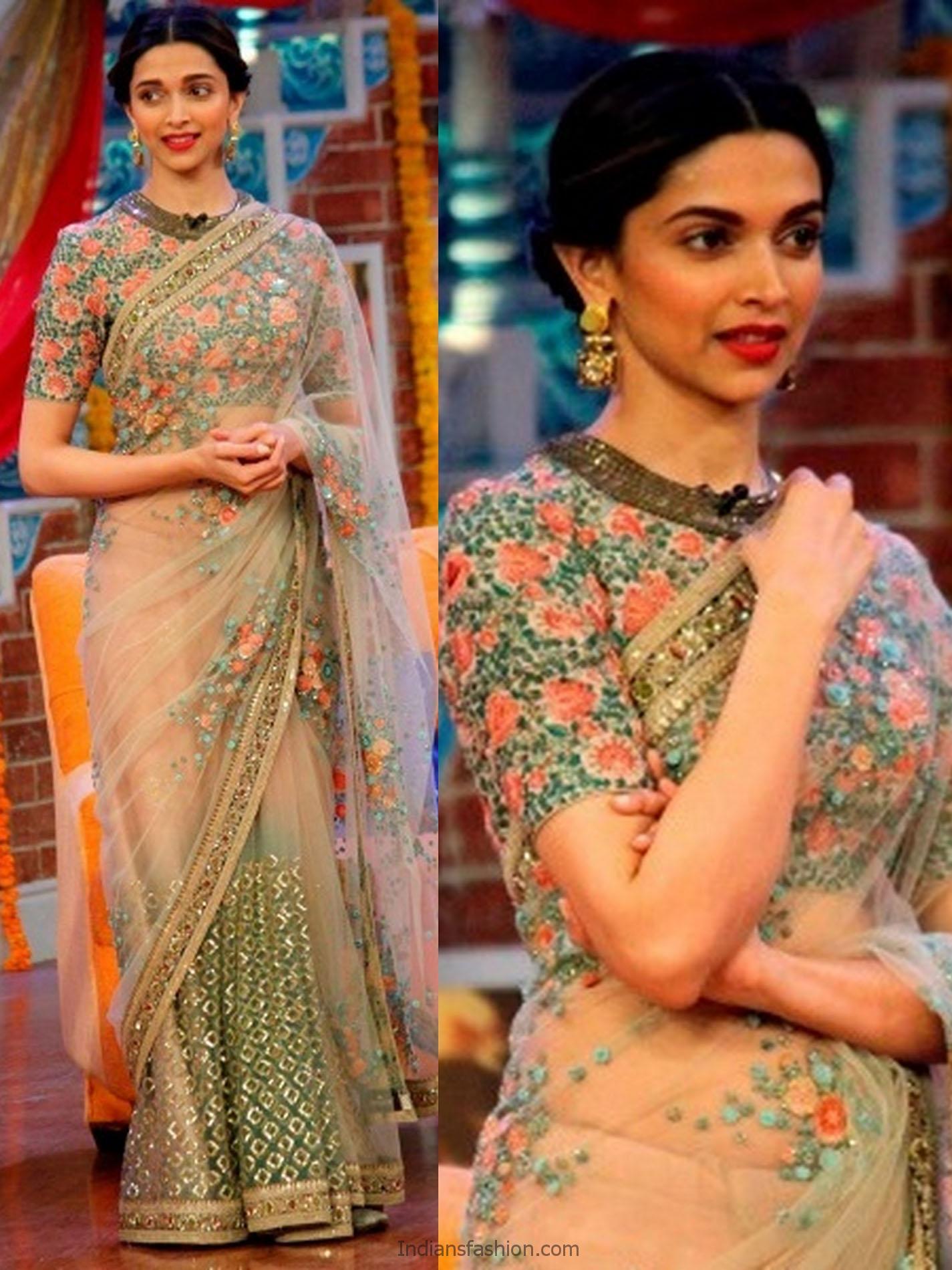 Indian Fashion Deepika Padukone Designer Saree Blouse Designs Fashionshala